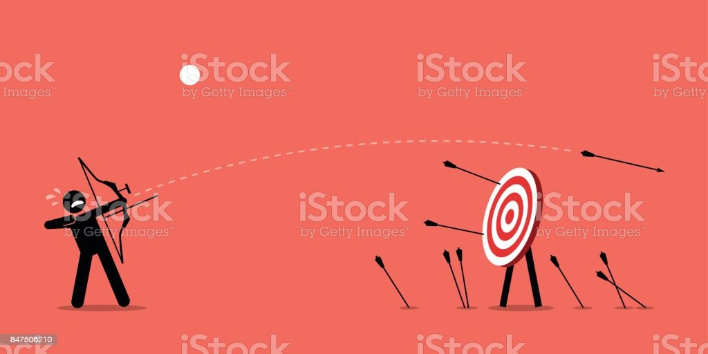 Failing to hit the target. vector art illustration