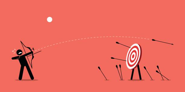 Failing to hit the target. Man desperately trying to shoot arrows with bow to hit the bullseye but failed miserably. Vector artwork depicts failure, inaccurate, missing, and lousy. failure stock illustrations