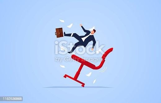 Failure, businessman fell from the chair