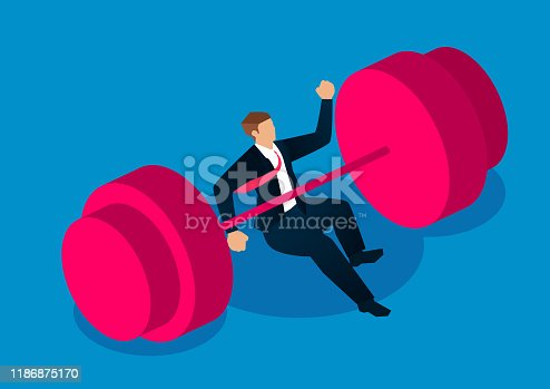 Failure, the businessman was overwhelmed by huge dumbbells