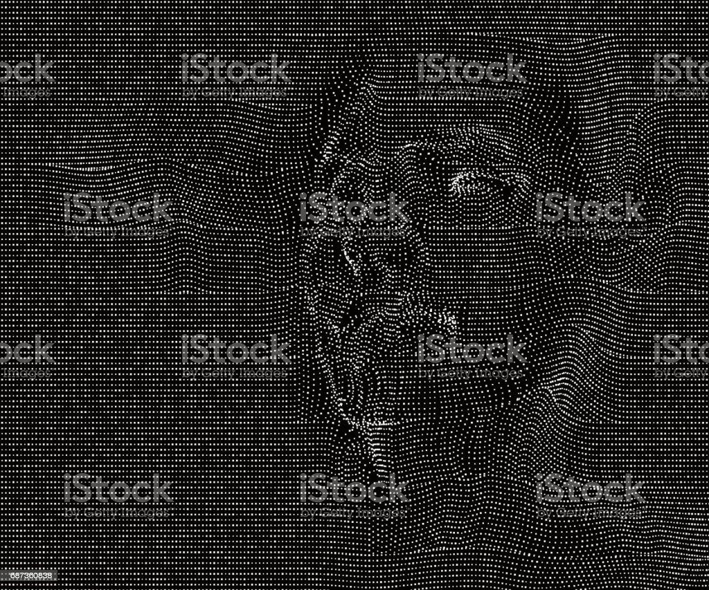 A faint figure out of the net; vector illustration. vector art illustration