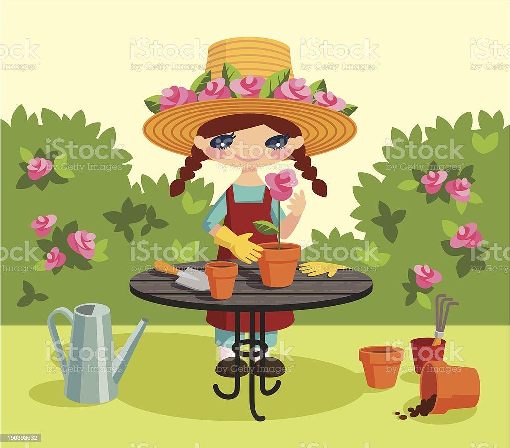 Fair gardener. vector art illustration
