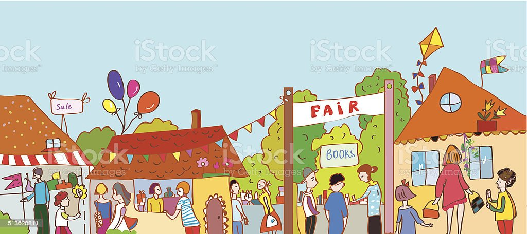 Fair holiday at the town illustration vector art illustration