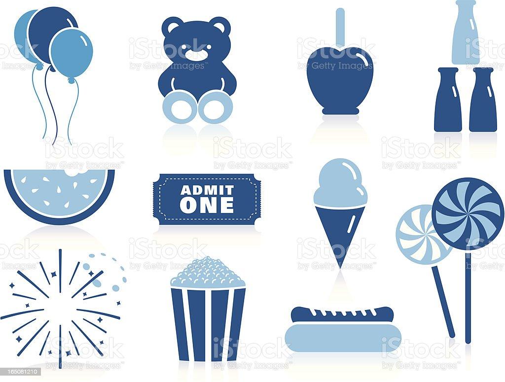 fair Icons in Blue vector art illustration