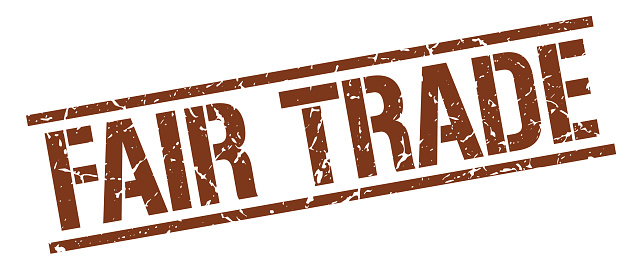 fair trade brown grunge square vintage rubber stamp
