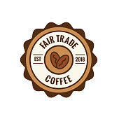 Fair Trade Coffee Emblem w Coffee Beans Seal - Brown and red