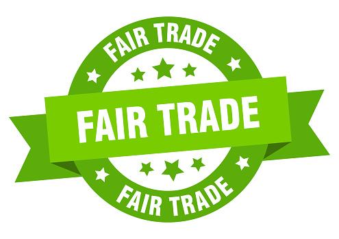 fair trade ribbon. fair trade round green sign. fair trade