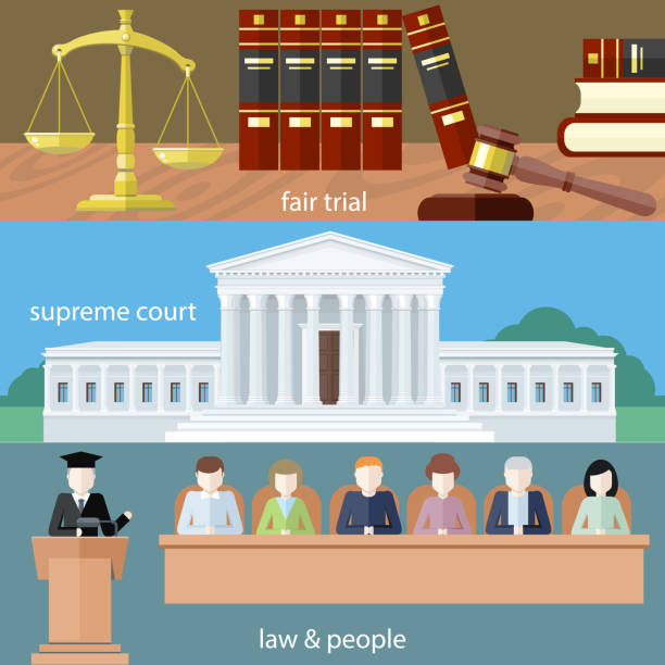 fair trial. supreme court. law and people - supreme court 幅插畫檔、美工圖案、卡通及圖標