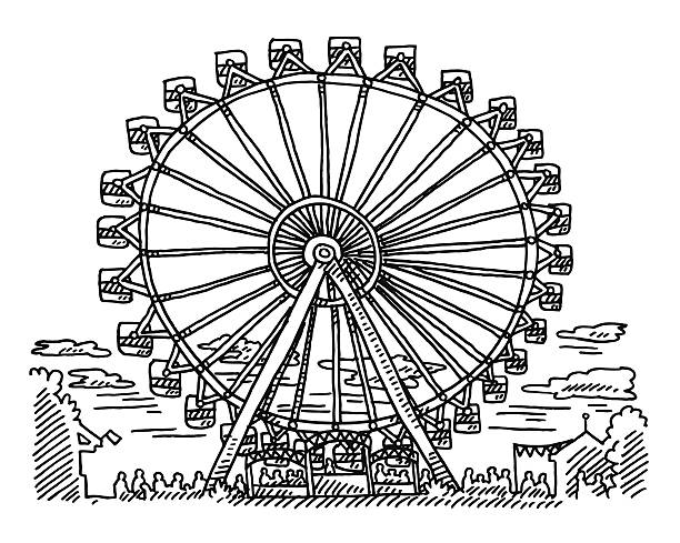 Fairground Ferris Wheel Drawing Hand-drawn vector drawing of a Ferris Wheel on a Fairground. Black-and-White sketch on a transparent background (.eps-file). Included files are EPS (v10) and Hi-Res JPG. oktoberfest stock illustrations