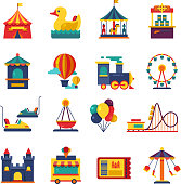 Fairground games and amusement park flat vector icons. Funfair icons set of ferris wheel and amusement park illustration