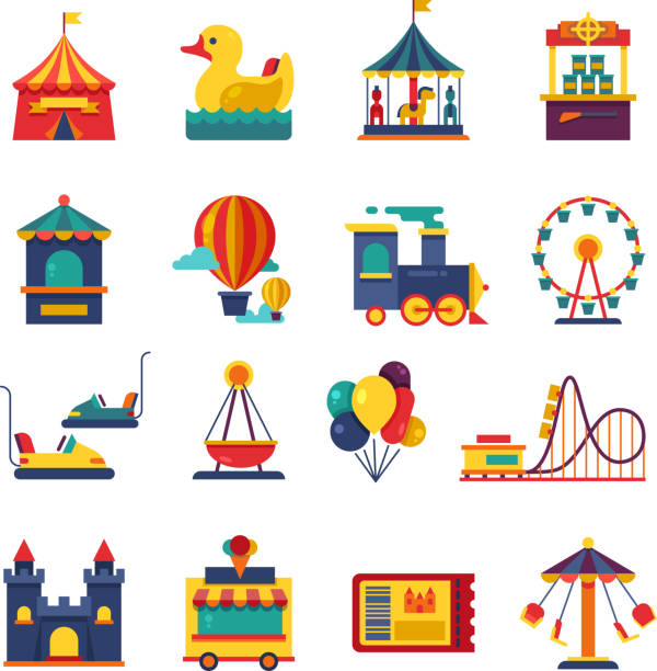 illustrazioni stock, clip art, cartoni animati e icone di tendenza di fairground games and amusement park flat vector icons - luna park