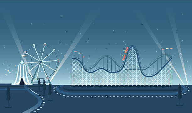 fairground rollercoaster night scene - roller coaster stock illustrations