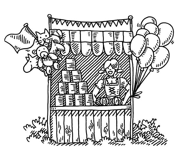 Fairground Stall Pyramid Of Cans Woman Drawing Hand-drawn vector drawing of a Stall on a Fairground, where you can throw a ball on a Pyramid of Cans. The Stall is decorated with Balloons and Toy Animals. The Woman wears a Dirndl, a traditional Bavarian Skirt. Black-and-White sketch on a transparent background (.eps-file). Included files are EPS (v10) and Hi-Res JPG. game stock illustrations