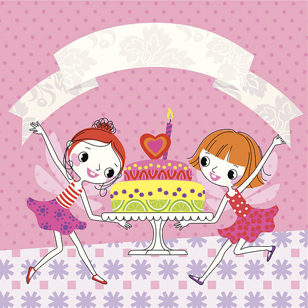 Fairies and Birthday Cake. Two Fairies with Cake and Ribbon. serving dish stock illustrations