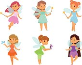 Cute and beautiful princess fairy vector character. Style cartoon little girl in fashion costume, magic fantasy dress crown kid. Happy sweet teenage with wings.