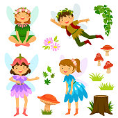 Cute cartoon fairies of both genders plus mushrooms and decorative elements