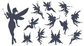 Cute Fairies silhouette collection, Little fairies set. Hand drawn vector illustration.