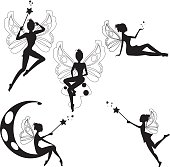 Collections of vector silhouettes of a cute fairy