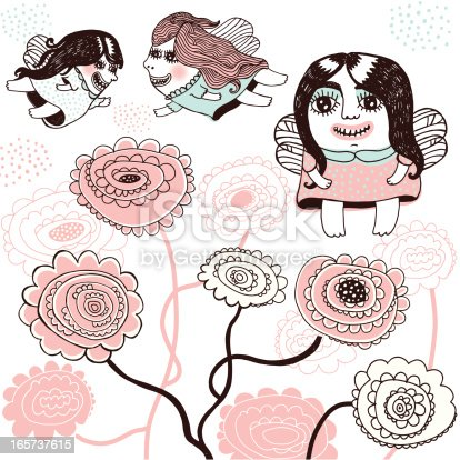 Vector file of the fairies and flowers