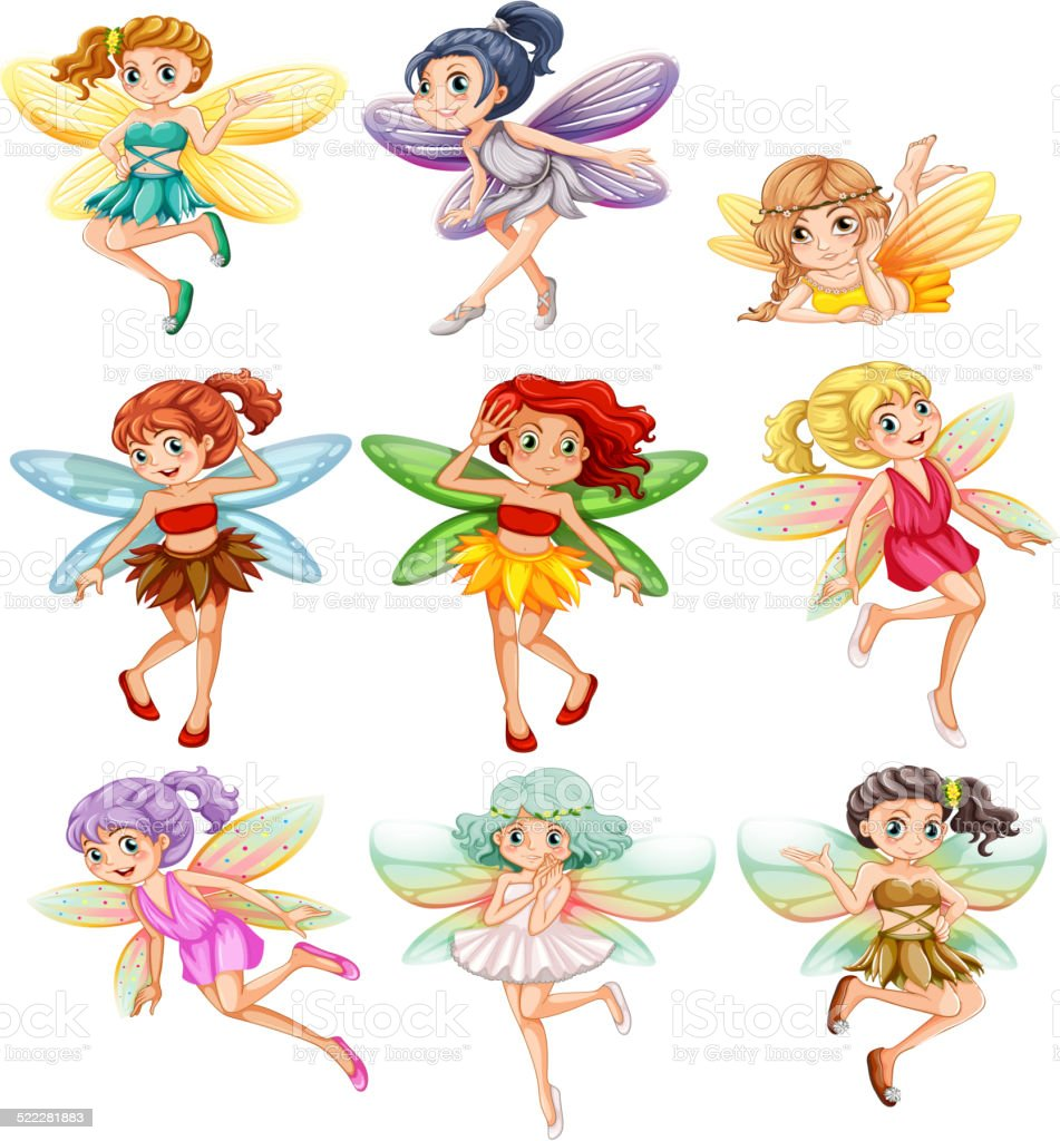 Fairies vector art illustration