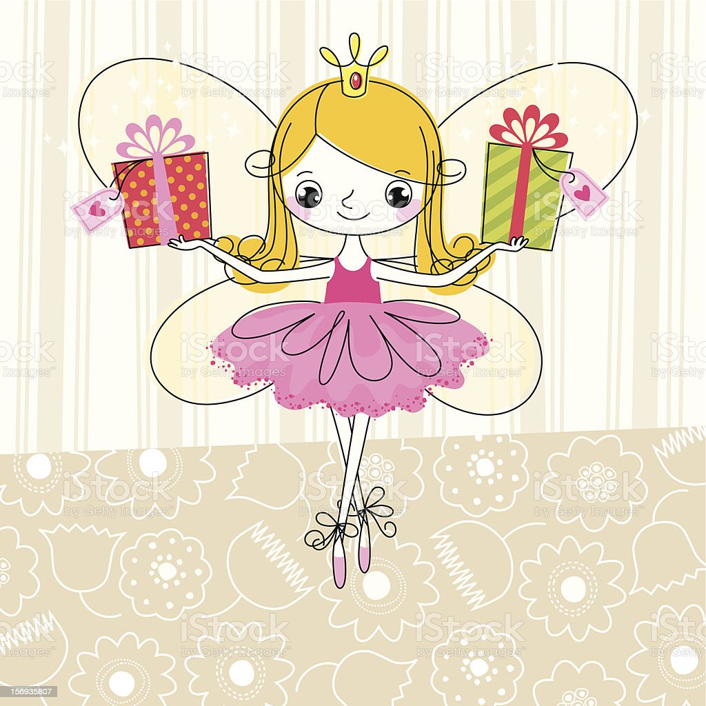 Fairy and Gifts. royalty-free stock vector art