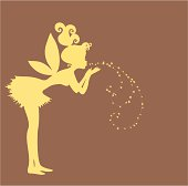 Cute Fairy blowing pixie dust. Vector silhouette with copy space.