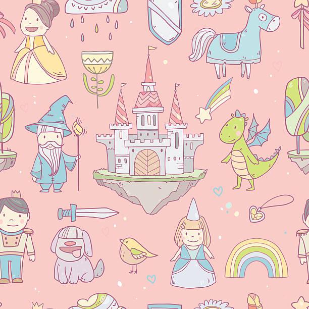 Fairy  castle pattern vector art illustration