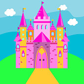 Fairy castle, Pink palace on green grass. Vector illustration for children, kids tales