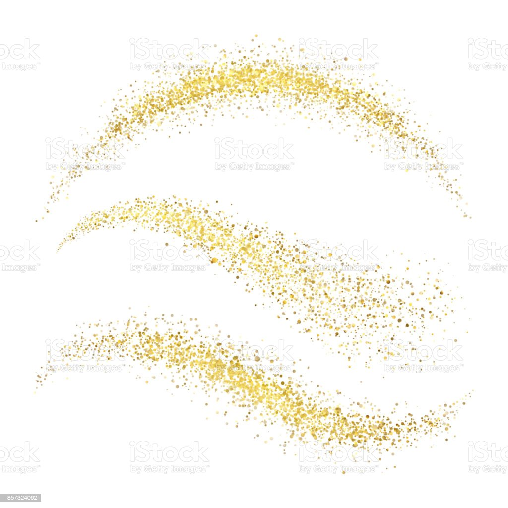 Fairy christmas golden stardust. Glamour gold waves with glittering stars isolated on white background vector set vector art illustration