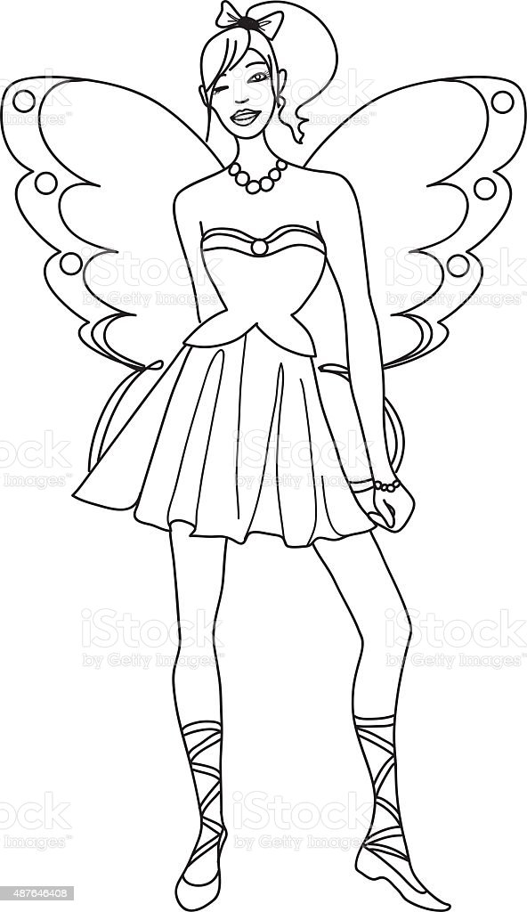 Fairy Coloring Page For Kids Stock Vector Art & More Images of 2015 ...