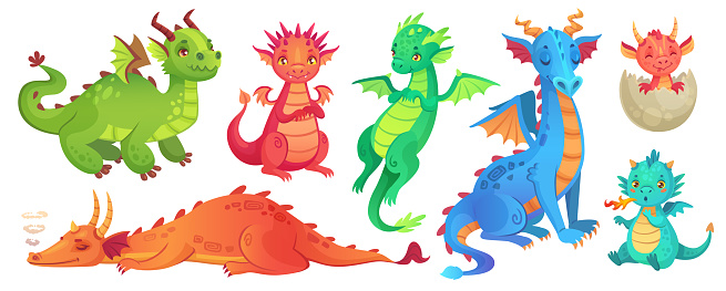 Fairy dragons. Funny fairytale dragon, cute magic lizard with wings and baby fire breathing serpent cartoon isolated vector set