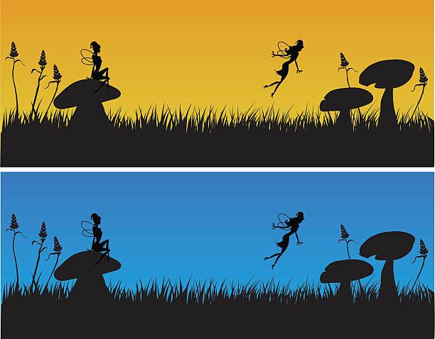Fadas voando sobre grama - ilustração de arte em vetor