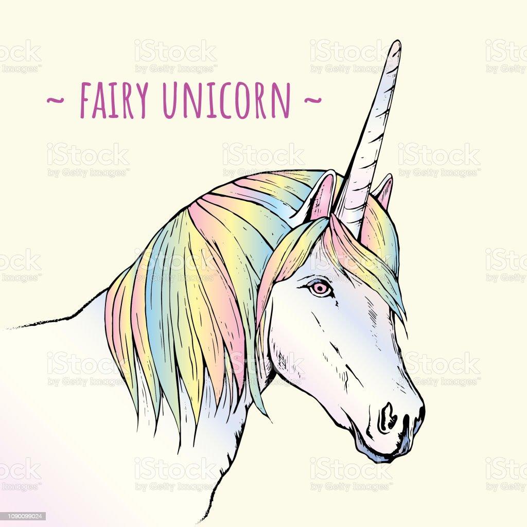 Fairy hand drawn unicorn on light background illustration