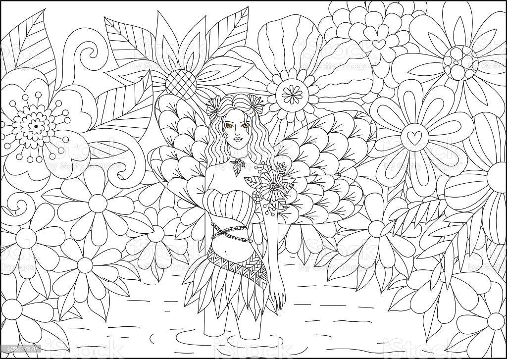Hadas En El Estanque Diseño De Trazado Para Colorear Libro Para ...