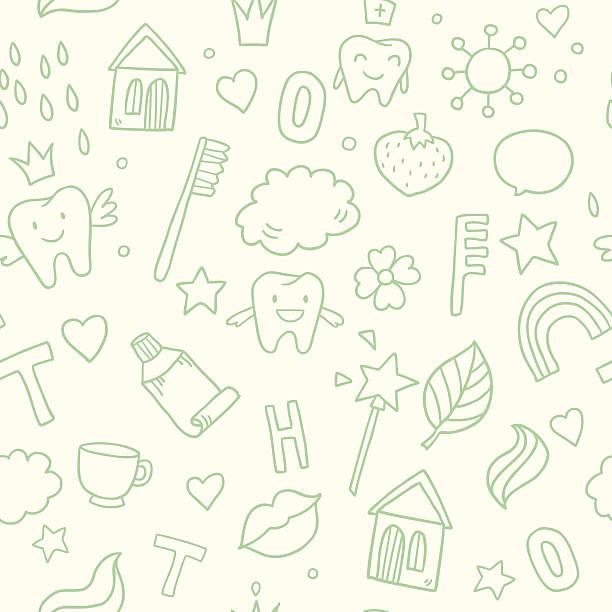 Fairy magic teeth pattern vector art illustration