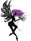 The silhouette of a feminine fairy with detailed wings and purple hair, making a wish with an abstract dandelion/flower.