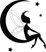 The silhouette of a sweet little fairy sitting on the silhouette of the moon with simple stars in the background. The fairy and the moon are two separate shapes if just the fairy is wanted.
