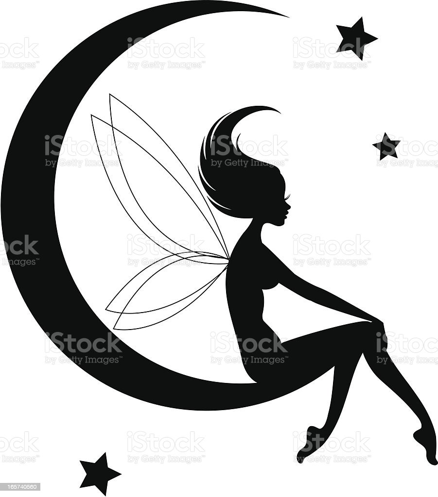 Fairy Moon Silhouette vector art illustration