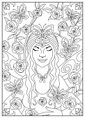 istock Fairy of Nature with Butterflies and Roses - Drawing for Colouring 1184375272