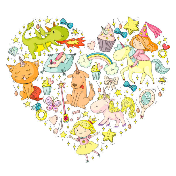 Fairy princess and magical unicorns. Vector pattern with magic cats, horses, dogs. vector art illustration
