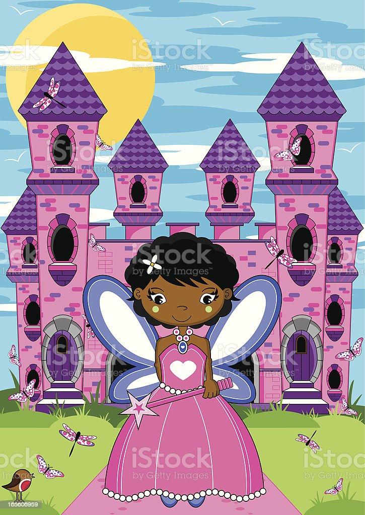 Fairy Princess & Enchanted Castle vector art illustration
