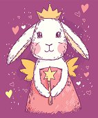 Cute fairy princess rabbit with magic wand, wings and crown. Vector illustration