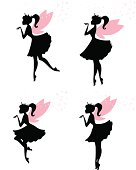 A group of fairy princesses blowing magic sparkles from their fingertips. Fairys are grouped separately. each fairy is a solid shapes with wings that are grouped and sparkles that are grouped- both removable in Ai. The crown is also removable easily in Ai if just a ponytail is desired.