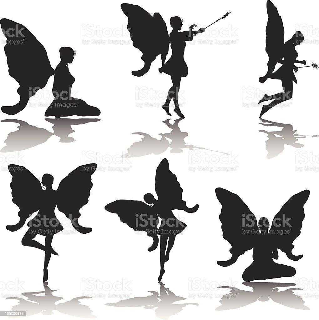 Fairy Silhouette Collection royalty-free stock vector art