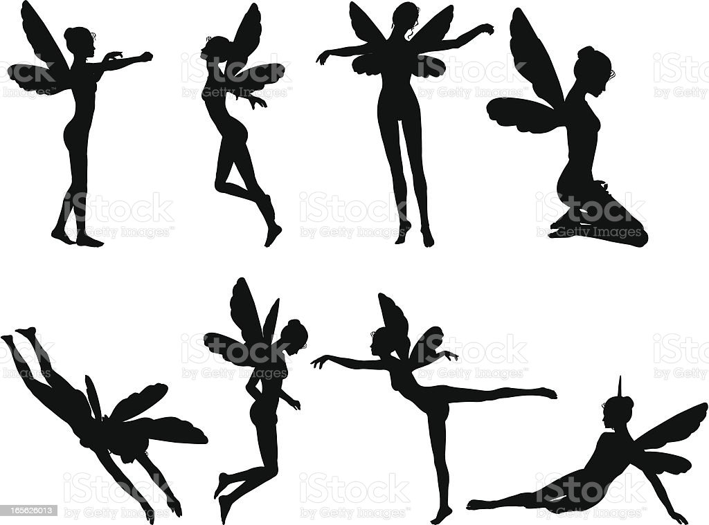 Fairy Silhouette Collection vector art illustration
