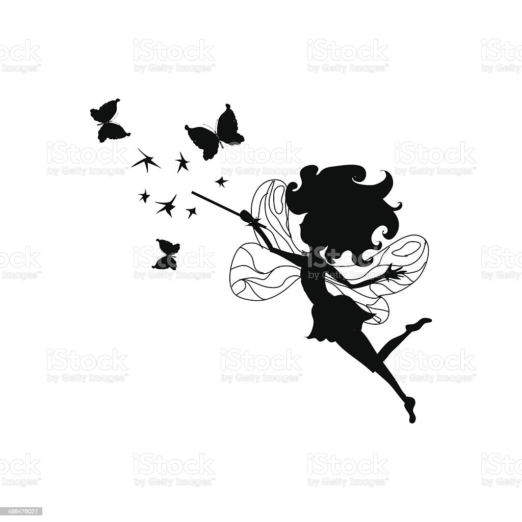 Fairy silhouette vector art illustration