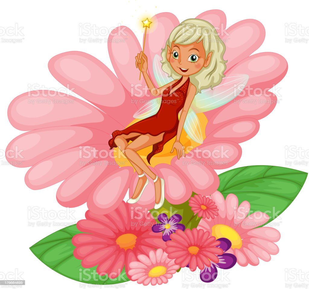 fairy sitting on a pink flower royalty-free fairy sitting on a pink flower stock vector art & more images of adult