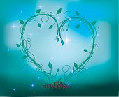 fairy sprout in the heart composition with sparkle and light, Fairy plant and forest decorations looks like heart, vector