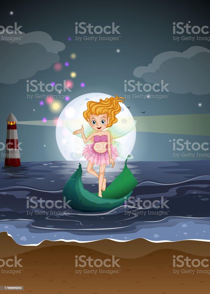 Hada de pie en una embarcación en la playa ilustración de hada de pie en una embarcación en la playa y más banco de imágenes de adulto libre de derechos