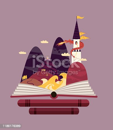Purple, fairy tale landscape - princess in a tower guard by a dragon with knight wnated to save her. Children story coming out of the book.